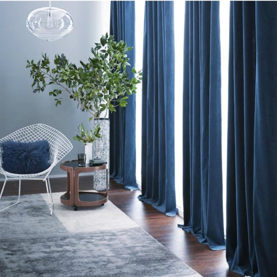 Pair of Navy Blue Velvet Curtains, Bedroom Velvet Curtains, Living Room  Velvet Curtains, Custom Curtains
