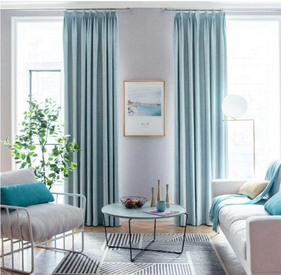 Pair of Powder Blue Curtains, custom drapes, Custom curtains, window  curtain panels, Linen Blend Fabric, Heavy Weight