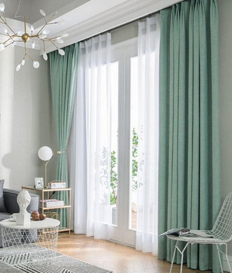 Pair of Fresh Green Curtains heavy weight curtain Linen image 0