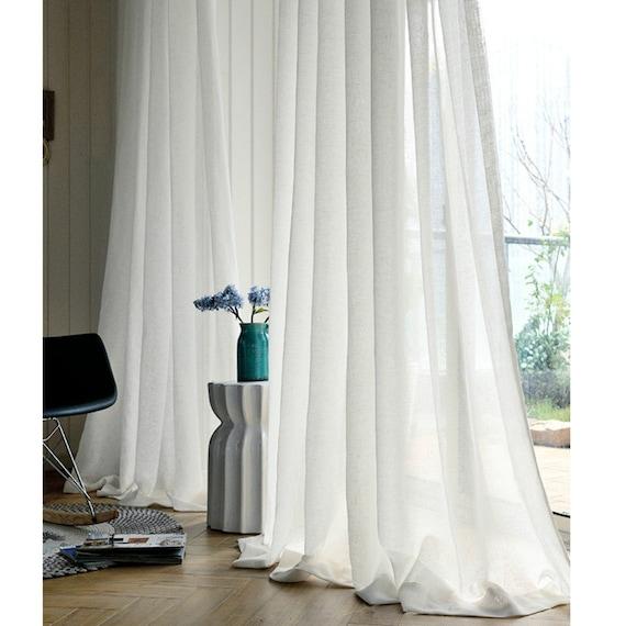 Linen Sheer White Curtains, Long White Sheer Curtains