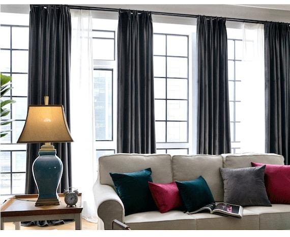 Paar Kohle grau samt Vorhänge, Schlafzimmer samt Vorhänge, Wohnzimmer samt  Vorhänge, benutzerdefinierte Vorhänge