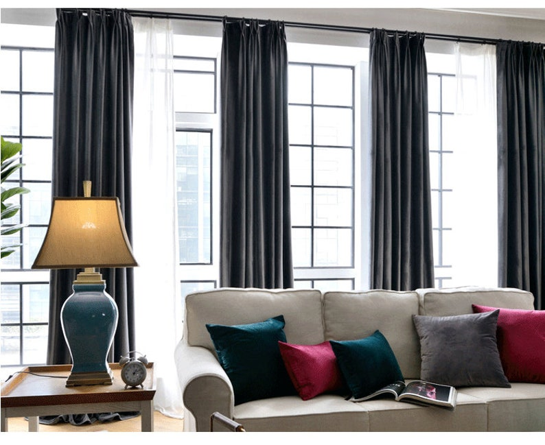 Pair of Charcoal Grey Velvet Curtains, Bedroom Velvet Curtains, Living Room  Velvet Curtains, Custom Curtains