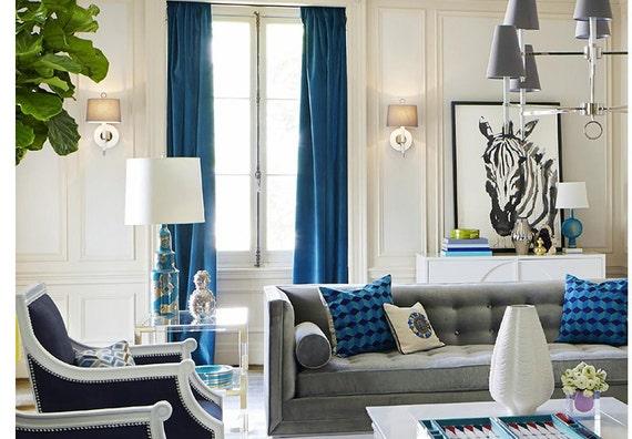 Pair Of Royal Blue Velvet Curtains Bedroom Velvet Curtains Etsy