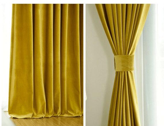 Pair Of Gold Velvet Curtains Bedroom Velvet Curtains Living Etsy