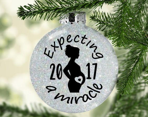 image 0 - Pregnancy Ornament - Expecting Ornament - Expecting A Miracle - Expectant  Mom Gift- Pregnancy Announcement - We're Expecting- Gifts For Her