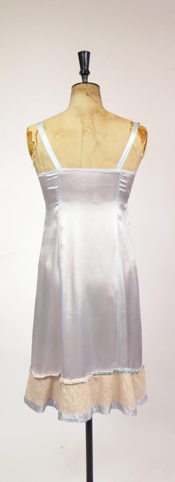 Original Vintage 1940-50s Dusky Blue Nude Lace Sl… - image 2