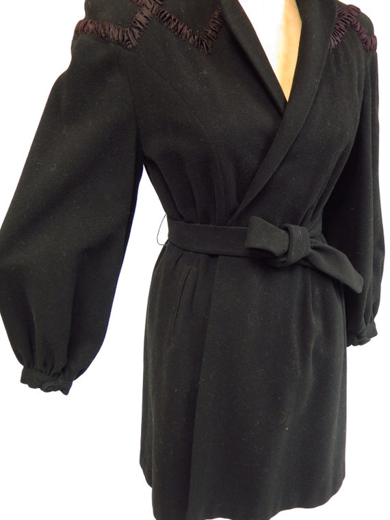 Original Vintage 1930s 1940s Black Tailored Fitte… - image 8