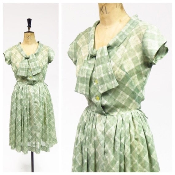 Original Vintage 1950s Sage Green Checked Semi She