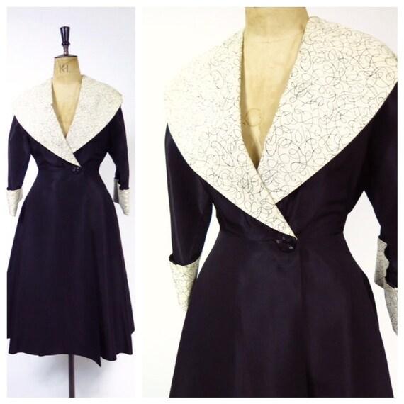 Original Vintage 1940s 1950s Black And Cream Eveni