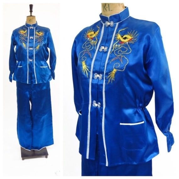 Original Vintage 1950-60s Royal Blue Embroidered C