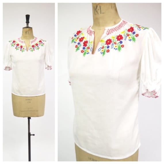 Original Vintage 1970s Hungarian Hand Embroidered