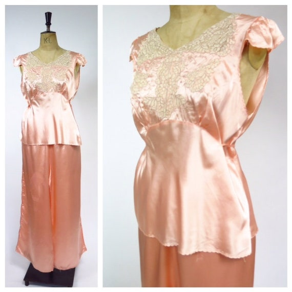Vintage Deco 1930s 2 Piece Pyjamas Loungewear