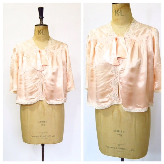 Vintage 1930s Silk Bed Pyjamas Loungewear Jacket