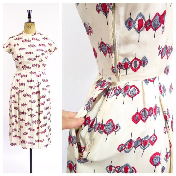 1950s Novelty Print Dress With Pockets