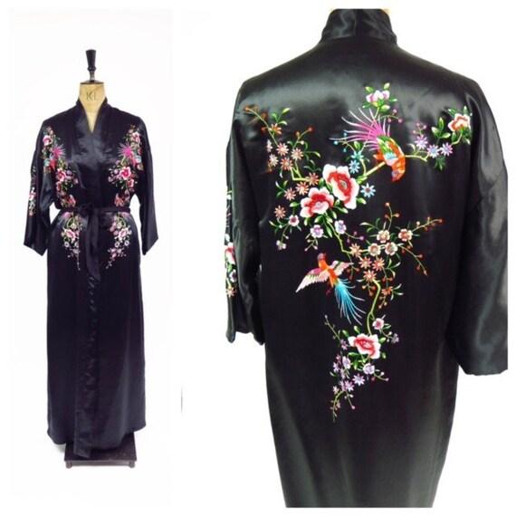 Original Vintage 1980s Black Satin Floral Embroide