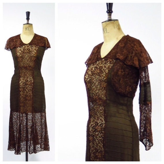 1920s 2 Piece Lace Evening Dress