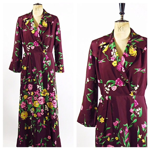 1940s Rayon Floral Robe / Dressing Gown