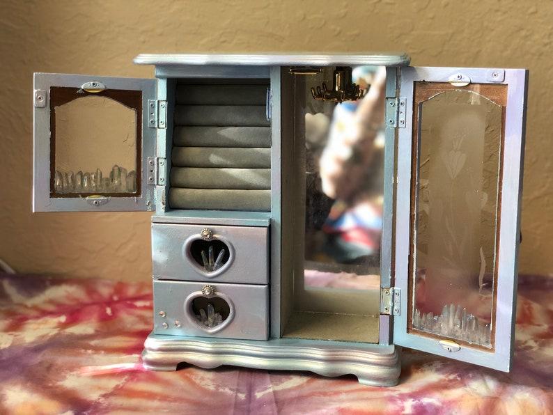 Crystals Jewelry Storage Upcycled Quartz Handpainted Hippie Mandala Vintage Boho Upcycled Vintage Crystal Mandala Jewelry Box