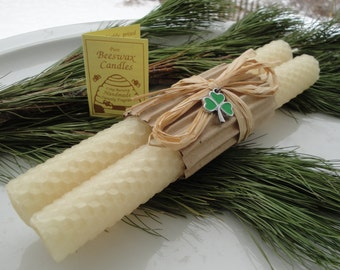 hand rolled honeycomb beeswax taper candles 8 pair ivory beeswax candles tapers irish gifts gifts under 20 rustic decor