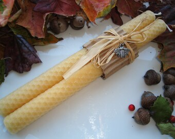 Beeswax Taper Candles| Natural Golden Yellow| Honeycomb Beeswax Candles| Hand Rolled Tapers | Gifts under 20