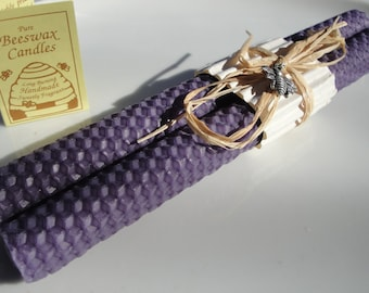 Beeswax Candles Rolled Honeycomb Grape Dark Purple | Beeswax Candles | Tapers  | Gifts under 20 | Rustic Decor