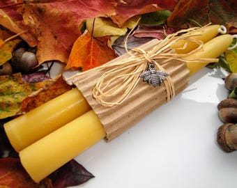 """Beeswax Candles Tapers 8"""" 100% Pure Beeswax Rustic Decor Gifts under 20 All Natural"""