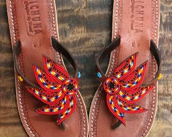 0a420e501443 Sun handmade sandals flip flops summer bead sshoes leather holiday