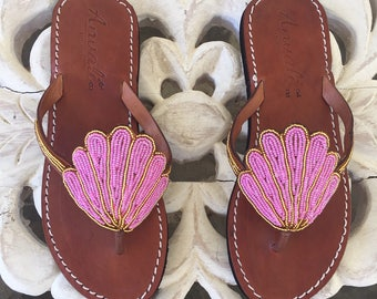 c4f8301b514f KOLA MERMAID scallop shell handmade sandals flip flops summer bead sshoes  leather holiday