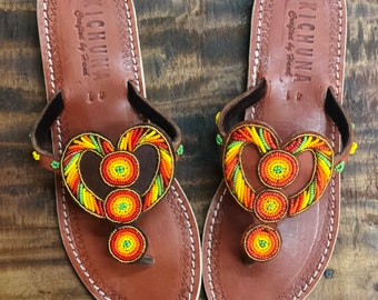 b99ee5655192 Heart handmade sandals flip flops summer bead sshoes leather holiday