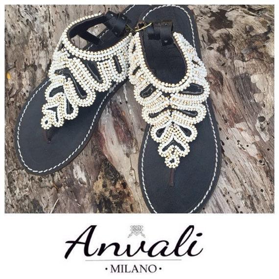 s s s perlées à la main élégant noir et blanc flip flops perles de chaussures d'été 31a319