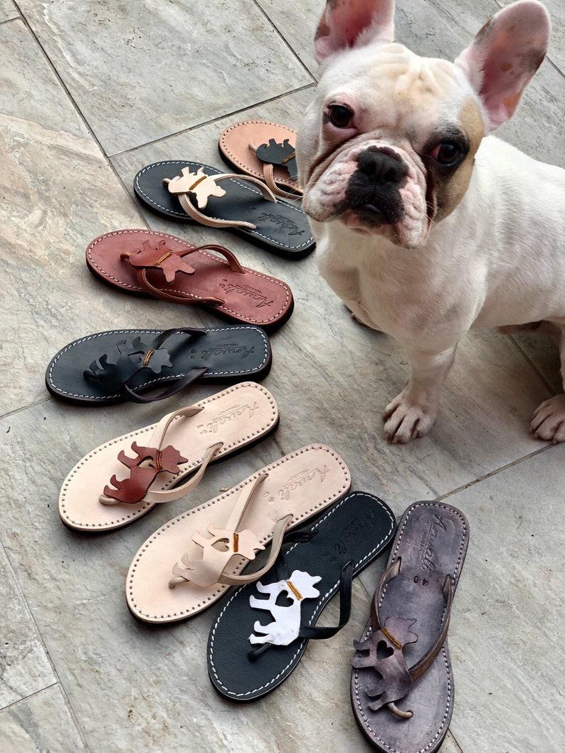 Schuhe Leder Hund Bulldogge Handgefertigt Individuell Sandalen Flip Französische Zweifarbige Flops kXZiOuTP