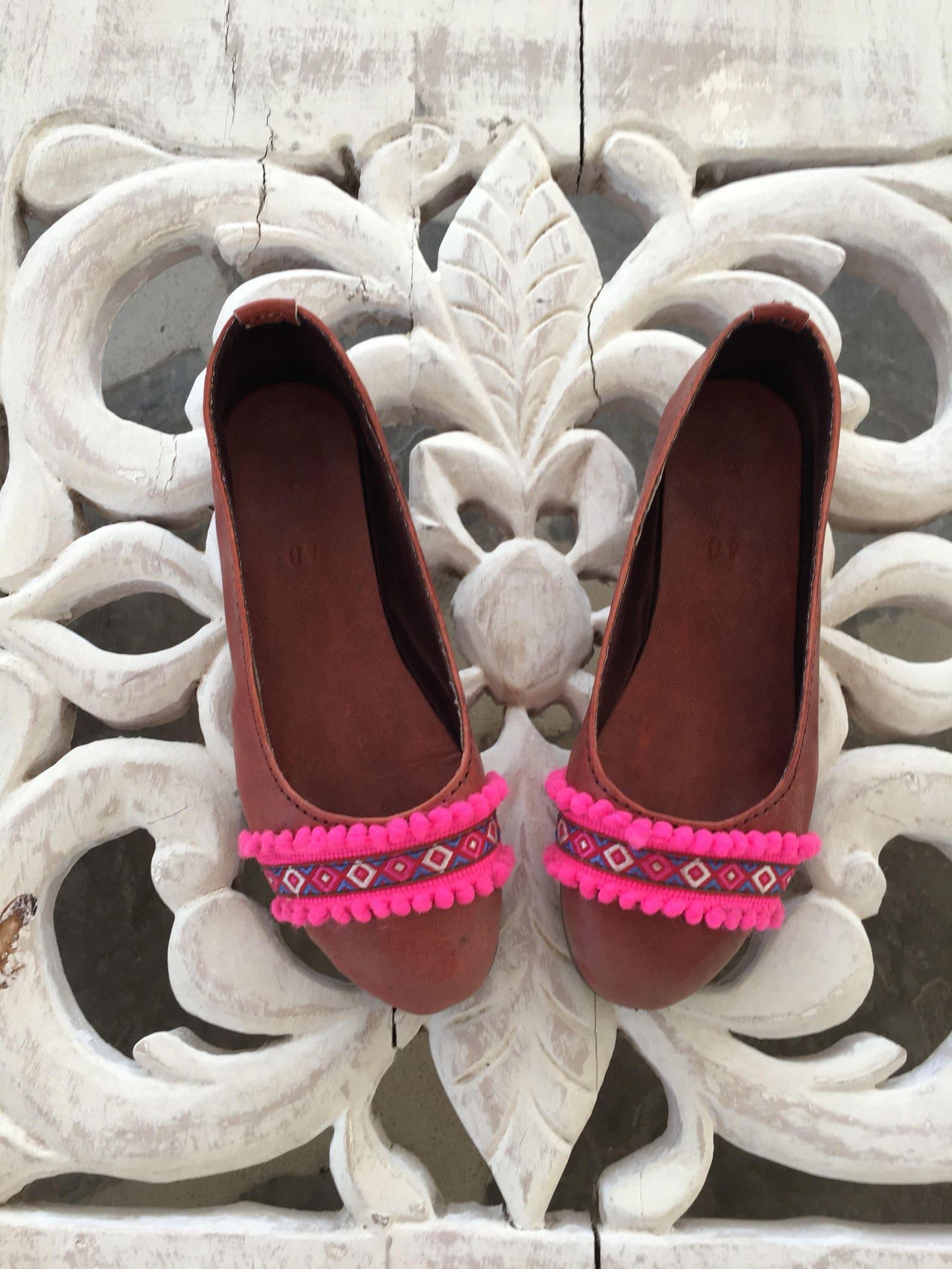 pink fantasy ballet pumps leather handmade ballet flat shoes
