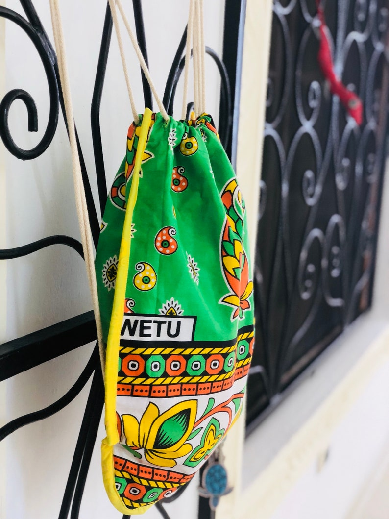 Kanga backpack handmade colorful travel bag
