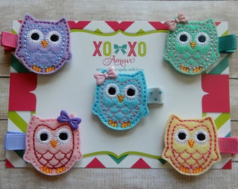 2 GIRLS HAIR CLIPS LIGHT PINK OWL SET OF TWO