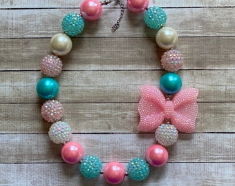 Xoxo Amour Girl Gift Chunky Bracelet Heart Chunky Bead Set Valentine Bubblegum Necklace Set Little Girls Jewelry Pink and RED Necklace