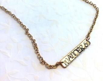 Customizable Hand Stamped Bar Necklace.