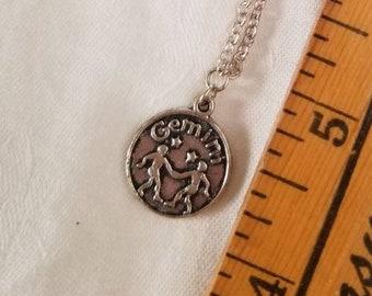 Gemini Reversible Celestial Zodiac Silver Sign