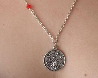 Scorpio Celestial Zodiac Double Sided Silver Necklace