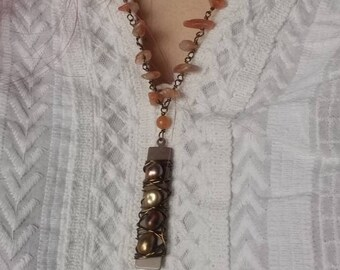 Sunkissed Babe: Bronzed Pearl Lariat necklace