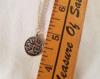 Libra Celestial Zodiac Silver Necklace