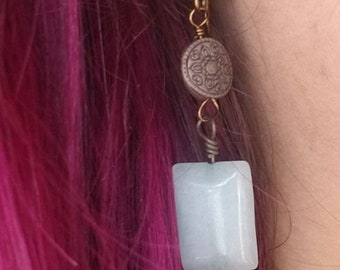 Blue Stone Bronzed Celtic Design Earrings