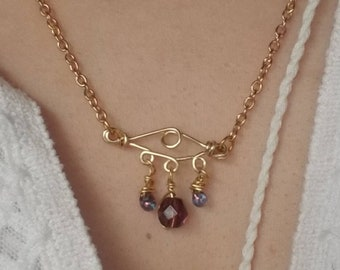 Evil Eye Gold Crystal Rain Drops Necklace
