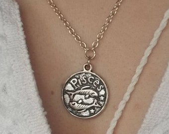 Pisces Celestial Zodiac Silver Necklace