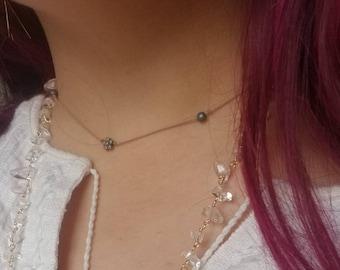 Tan Silk Choker Necklace, Bohemian Floral Silk Choker, Silver Flower Charm on Cord, Natural Dainty Tan Silk Choker, Simple Silk Choker,