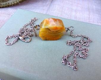 Dainty Bohemian Gemstone Agate Sunshine Solar Plexus Chakra Necklace. Artisan.