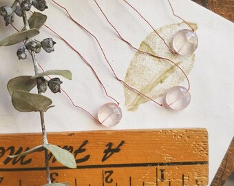 Rose Quartz Silk Necklace   Rose Quartz Pink Necklace   Pink Silk Necklace   Love Necklace   Valentines Necklace    Heart Necklace