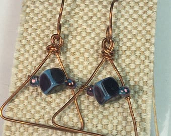 Amethyst Rose Gold Triangle Earrings