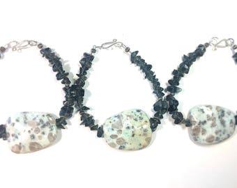 Spotted Agate Stone with Smokey Quartz Bracelet