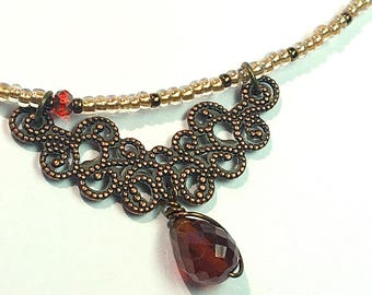 Red Garnet Gothic Necklace, Deep Red Jewel Choker Victorian Baroque Necklace, Floral Ornate Red Stone Bridal Choker Bridesmaid Necklace