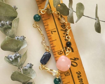 Life Crystal Bracelet, Sodalite Bracelet, Rose Quartz Bracelet, Rutilated Quartz Bracelet, Apaitite Bracelet, Chakra adjustable bracelet,